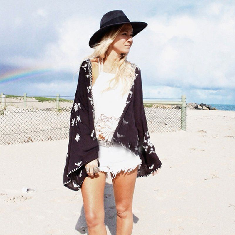 Gold Hands Kimono Women Loose Vintage Chiffon Cardigan Kimonos Boho Tops Jacket Blouse Beach Cover Up Sunscreen Beachwear Black