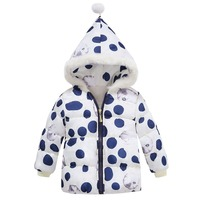 Baby Infant Girls Winter Clothes Down Children Parkas Hooded Cartoon Dot Cotton-padded Coat Warm Kids Outwear White Red Black