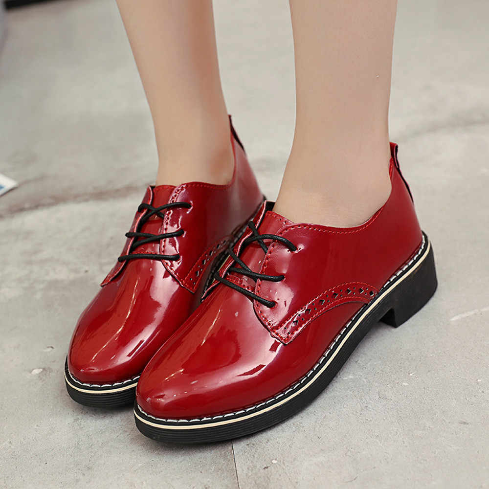 c84c019c73c YOUYEDIAN Women Boots 2018 Leather Boots Lace Up Square Heel Female Autumn  Casual Shoes Ankle Boots