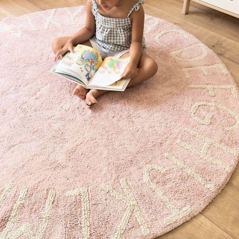 INS haute qualité 100% coton blanc rond ABC tapis et tapis rose tapis de jeu tapis tapete tapis chambre d'enfants décoration de la maison - 5