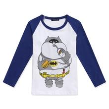 Limited Time Discount Boy Raglan Long Sleeve Tshirt Girl T Shirt Color Block T-Shirt New Design Batman Cat Printed Funny Tshirts цена 2017