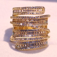 Sparkling Luxury Jewelry 925 Sterling Silver Yellow Gold Filled Princess White 5A Clear CZ Zirconia Party