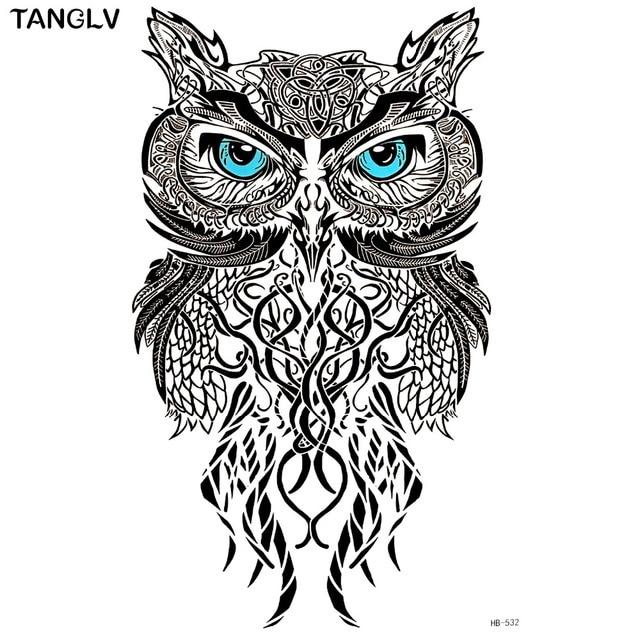 tanglv brand wise owl temporary tattoo body art flash tattoo