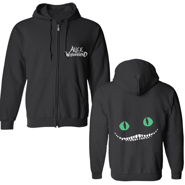 2016 Autumn Spring Coats Cheshire cat  Hoodies Sweatshirts Outwear Casual Jacket