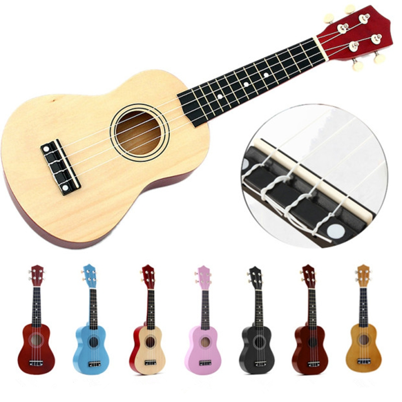 Multi-Color 21 Inch Ukulele 4 Strings Hawaiian Spruce Basswood Ukelele Soprano Guitar Uke + String + Pick Stringed Instrument