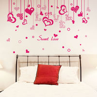 Love Hearts Drop Ornament Living Room Wall Sticker Quote Sweet Love Bedroom DIY Art Decal Home