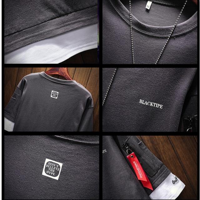 2018 Summer Korean Version Of The New Men's Belt Pendant Casual Round Neck Large Size Left Sleeve Zipper T-shirt Men's Clothing 4