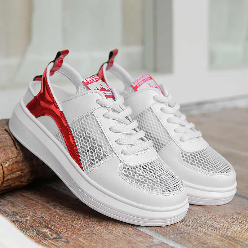 ca83457b60 Newest Women's Outdoor Air Mesh Sneakers Anti-slip Sport Shoes Breathable  Cool Thick Bootom Tennis Shoes Sexy Girls Tide Shoes