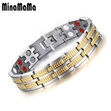 3a8ec9087e39 Healing gold color 316L pulsera de acero inoxidable para hombres Magnet  germanio infrarrojos iones negativos turmalina pulseras