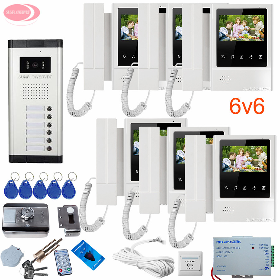 Home Video Door Phone 4.3'' Video Call for The Entrance Door Video Intercom + Rfid Unlock Electronic Lock Ddoor Bell With Camera sunflowervdp 2 call buttons intercom for the house video door phone for 2 apartments floors videophone with home wire video call