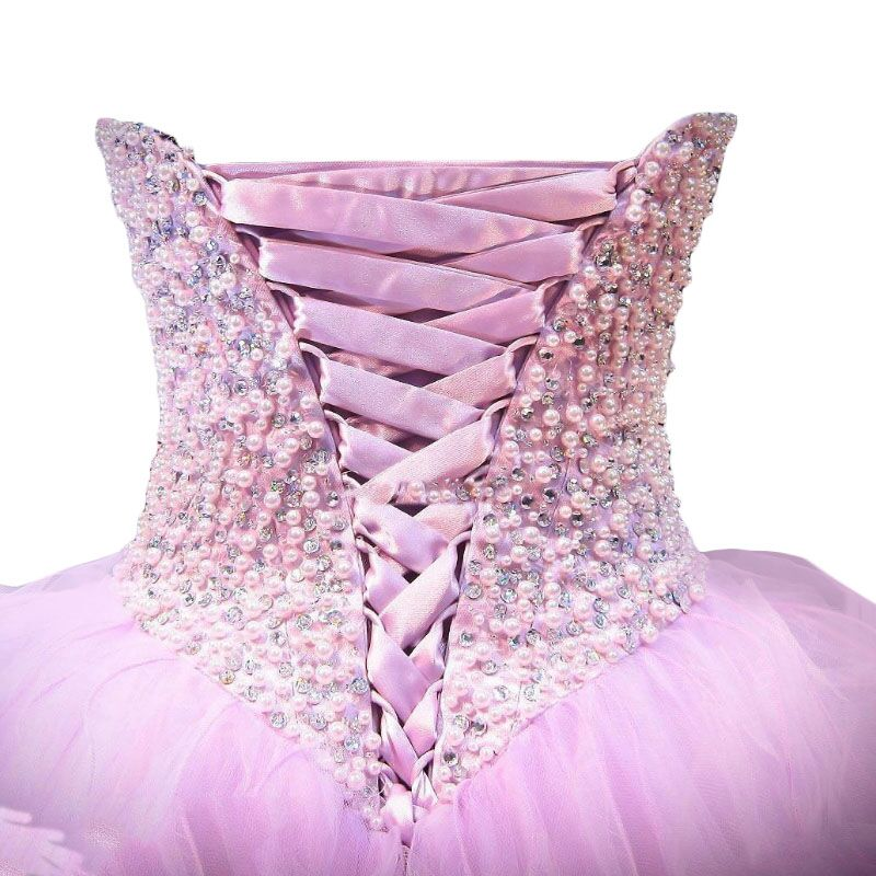 Gorgeous Colorful Ball Gown Quinceanera Dresses Lavender Lilac Tiered Pearls Prom Dresses Lace Up vestidos de 15 anos