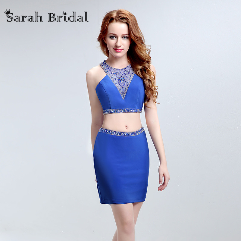 15ffa220ae Sexy Two Pieces Royal Blue Homecoming Dresses 2017 Satin Short Party  Cocktail Gowns with Beads 8 Grade Graduation Dress LX188