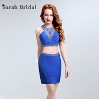 Sexy Two Pieces Royal Blue Homecoming Dresses 2017 Satin Short Party Cocktail Gowns with Beads 8 Grade Graduation Dress LX188