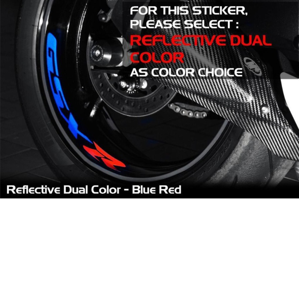 A Set Of 8pcs High Quality Motorcycle Wheel Sticker Decal Reflective Rim Bike Motorcycle Suitable For SUZUKI GSX-R GSXR