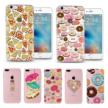 delicious food Pizza Donuts Transparent Soft Silicone TPU Cover Case For Apple iPhone 5 5S 6 6S 7 plus case coque fundas capinha
