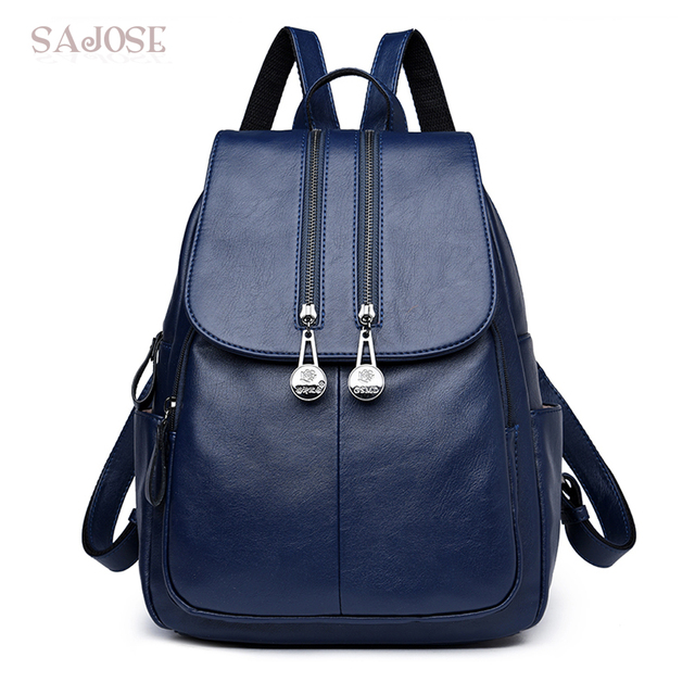 862cb1ec1f Women Leather backpack Female Fashion School Bag Shoulder Bag High Quality  Blue Backpacks DropShipping