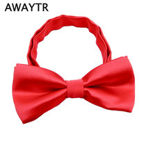 8f464e8c3161 4 Inch AWAYTR Cute Handsome Adjustable Boy Kids Silk Bow Tie Baby Black  Wedding Bowtie Fahsion