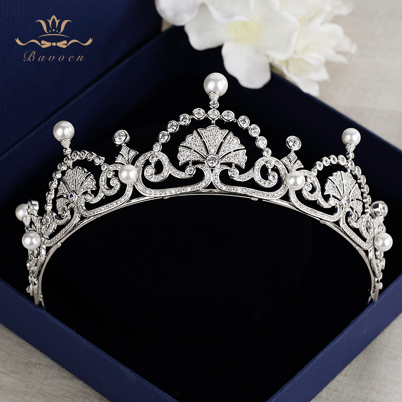 Top Quality Vintage Royal Queen Full Zircon Brides Crowns Tiaras Freshwater Pearls Wedding Headband Sliver Bridal Hair Accessory li yugang cross gender full set hair accessory for tang empress spring gala stage performance hair tiaras hair accessory set