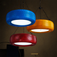 Retro Color Tire LED Pendant Lights Loft Cafe Bar Pendant Lamps Studio Bar Personality Living Room Hanging Lamp Kitchen Fixtures