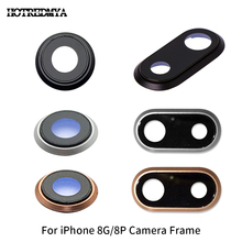High Quality Back Rear Camera Glass Lens For iPhone 8G 8Plus Sapphire Crystal Protector + Frame Black White Gold