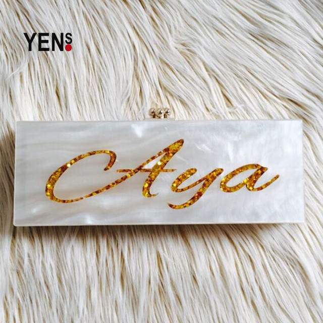 YENS Custom Handmade Acrylic Name Bags Name Purse Clutch Evening Bag with Internal Makeup Mirror 25x9x4cm Customizable