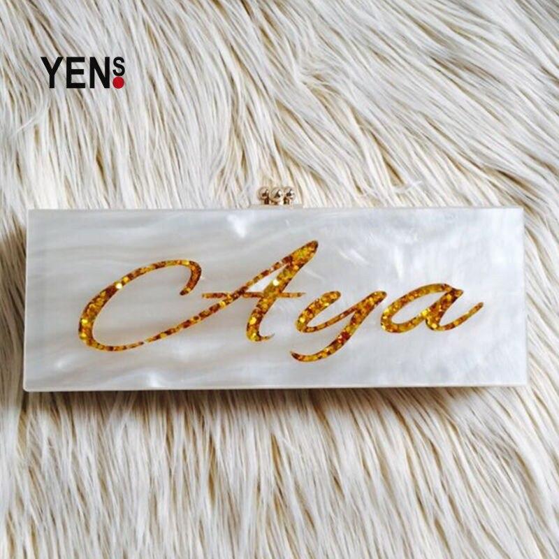 Yens 사용자 정의 수제 아크릴 이름 가방 독특한 편지 이름 클러치 우아한 저녁 파티 가방 내부 거울 사용자 정의-에서클러치부터 수화물 & 가방 의  그룹 1