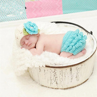 Newborn Baby Girls Boys Photography Props Crochet Flower Hat+Pants Outfits Clothes Infant Tiny Baby Photo Shoot fotografia Acces