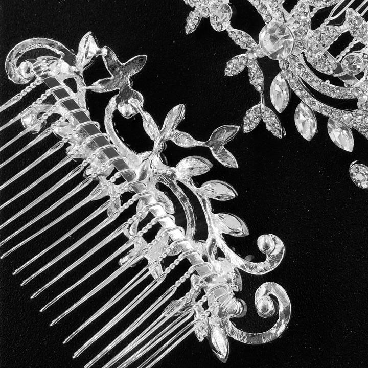 Расческа из прозрачного горного хрусталя с вихревыми листьями, Свадебные аксессуары в винтажном стиле, свадебный гребень для волос, расческа по бокам