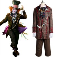 Alice In Wonderland Johnny Depp Mad Hatter Cosplay Costumes Jacket Pants Tie Full Set Halloween Carnival Costumes For Adult Men