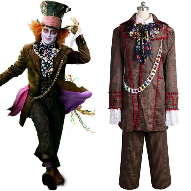 Alice Nel Paese Delle Meraviglie Johnny Depp Cappellaio matto di Cosplay  Costumi Pantaloni Giacca Cravatta Set 404dfceba292