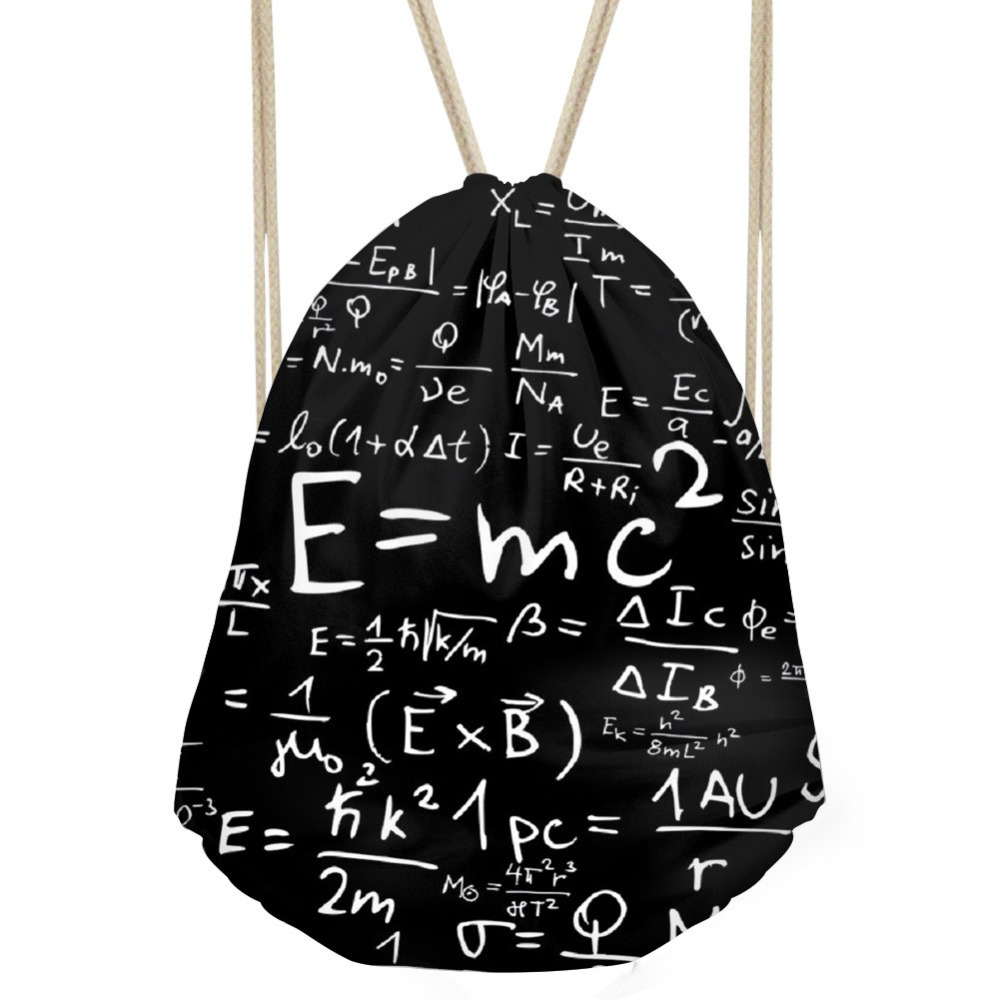 ThiKin Chemical Formula Pattern Woman Men Drawstrings Bags Casual Large Storage Backpacks Softback Students Black Sack