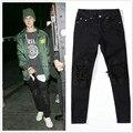 Justin bieber calças calças Slim calças skate juventude moda preto corda calça casual homens dos ganhos do hip hop calças skinny