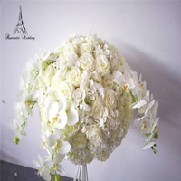 Romantic Wedding European Artificial Flower Rose With Phalaenopsis for Wedding Event decoration