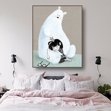 Laeacco Canvas Calligraphy Painting Cartoon White Bear and Little Girl Posters Prints Wall Art Picture Living Room Home Decor