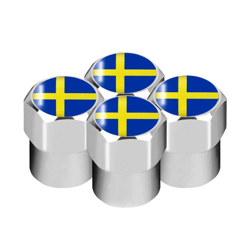 4 قطعة أسود الكربون جديد نمط سيارة عجلة الاطارات غطاء صمام غطاء الغبار الإطارات السويد شارة لفولفو V40 V60 S60L S80 XC80 XC90 اكسسوارات