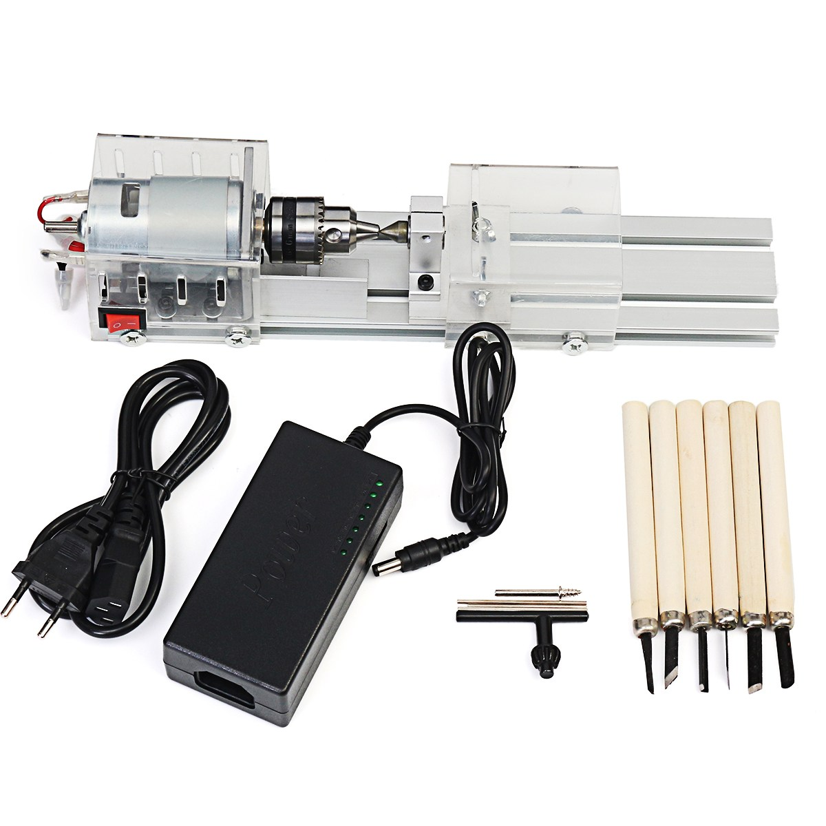 Mini Lathe Beads Machine Woodworking Drill Rotary Tool Standard Set DIY Lathe Polishing Cutting with Power