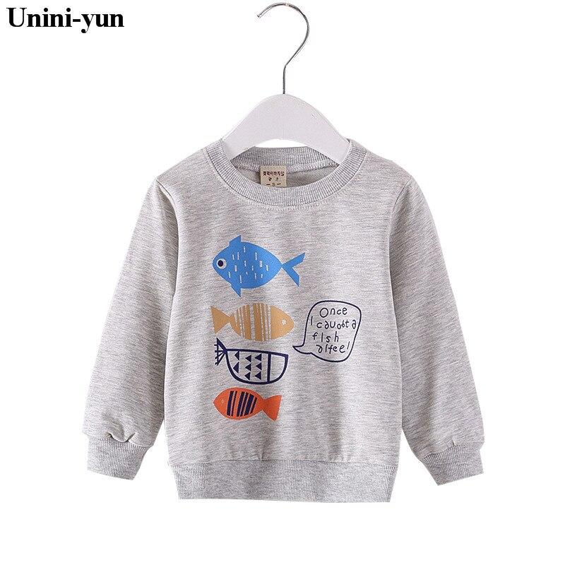 Fish Print White 2018 Autumn Winter Baby Girl Clothes Girls Sweatshirt Children Clothing  Baby Girl Sweatshirt  Boys Seeatshirt