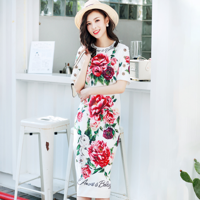 High Quality 2019 Fashoin Runway Summer Dress Women s Short Sleeve Crystal Button Peony Floral Printed