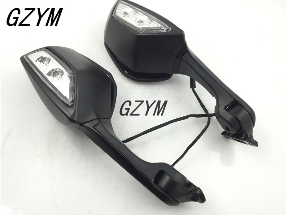 Black Motorcycle Mirror LED Turn Light Signals Motor Rear View Mirrors case for Kawasaki Ninja ZX10R ZX-10R 2011 2012 2013-2015