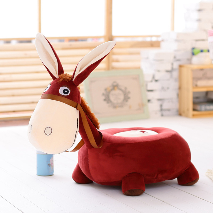 50cmx50cm Donkey Kids Cartoon Sofa Animal Seat Pillow Chair Plush Toy Stuffed Animals Simulation Toys Peluche Gigante 50T0529 2018 huge giant plush bed kawaii bear pillow stuffed monkey frog toys frog peluche gigante peluches de animales gigantes 50t0424
