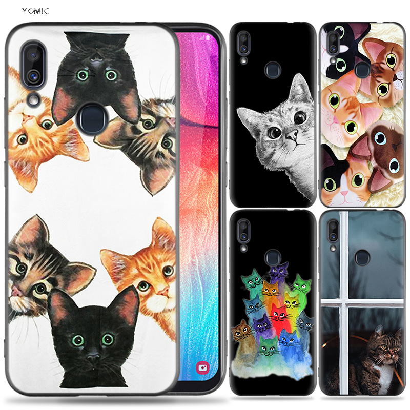 Silicone <font><b>Case</b></font> for <font><b>Samsung</b></font> <font><b>Galaxy</b></font> A30 A50 A10 A20 A70 A40 M10 M20 M30 A6 <font><b>A8</b></font> J4 J6 J8 Plus A7 A9 <font><b>2018</b></font> <font><b>Cat</b></font> Black Cute Kitten Kitty image