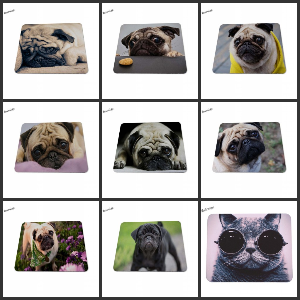 Mairuige Animal Vivid Pug No Overlock Gaming Rubber Dog Mouse Pad Silicon Mat Gaming Mouse Pad 180 * 220mm