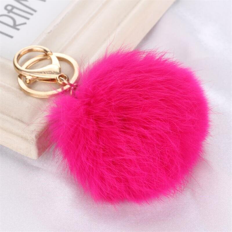 Mai multe culori roz iepure de blană cu buloane geantă de pluș - Bijuterii de moda - Fotografie 3