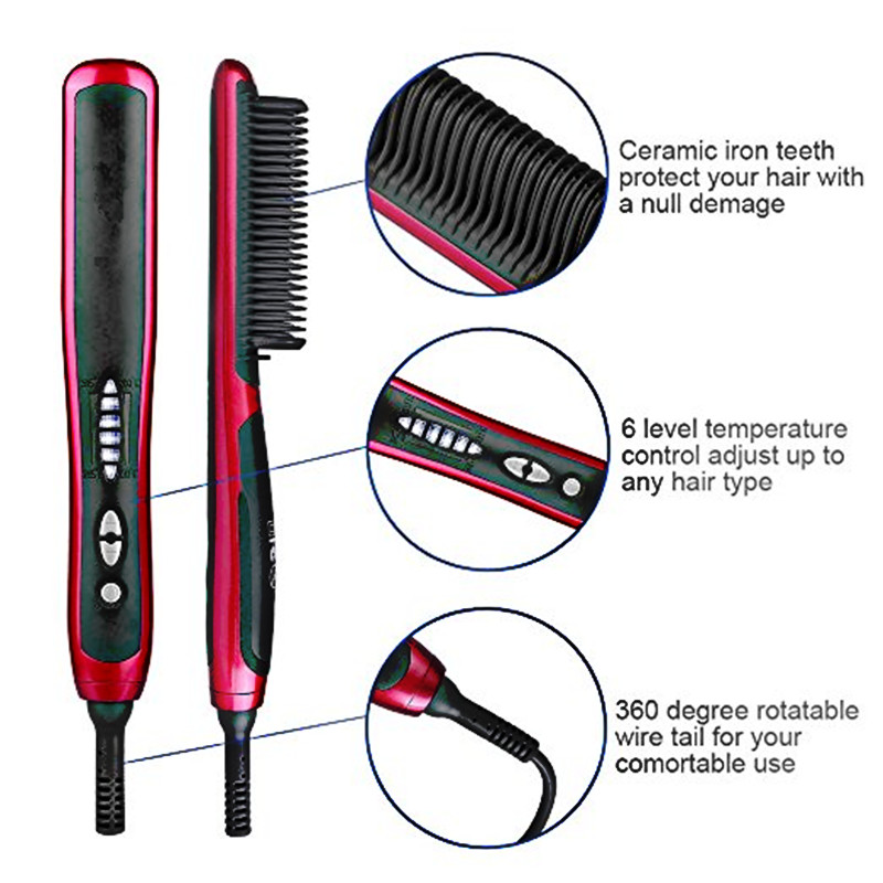 Men Quick Beard Straightener Styler Curler Comb And Beard Curler Permed Clip Styling Tools 7