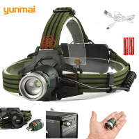 Army Green Tractical Headlamp Laptop Light USB Charging XML T6 Headlight Multi Purpose Adjustable LED Head