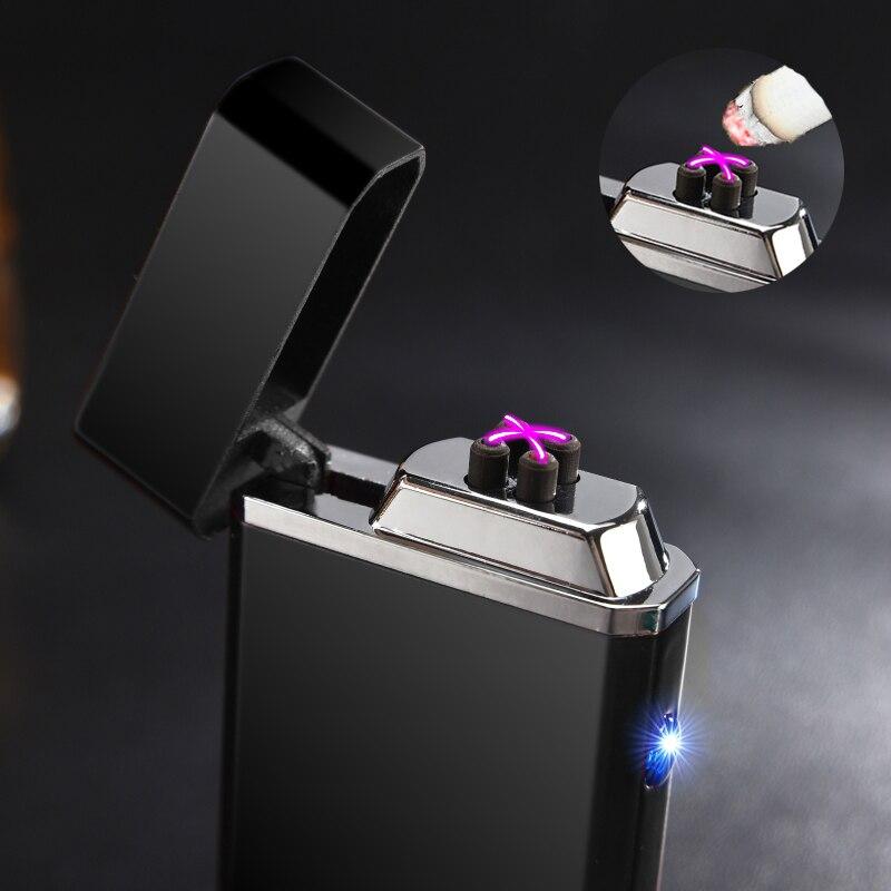 2017 New Electric USB Doppio Arco Più Leggero Ricaricabile Antivento Torch Lighter Accendino Sigaretta Dual Thunder Impulso Croce Plasma Più Leggero