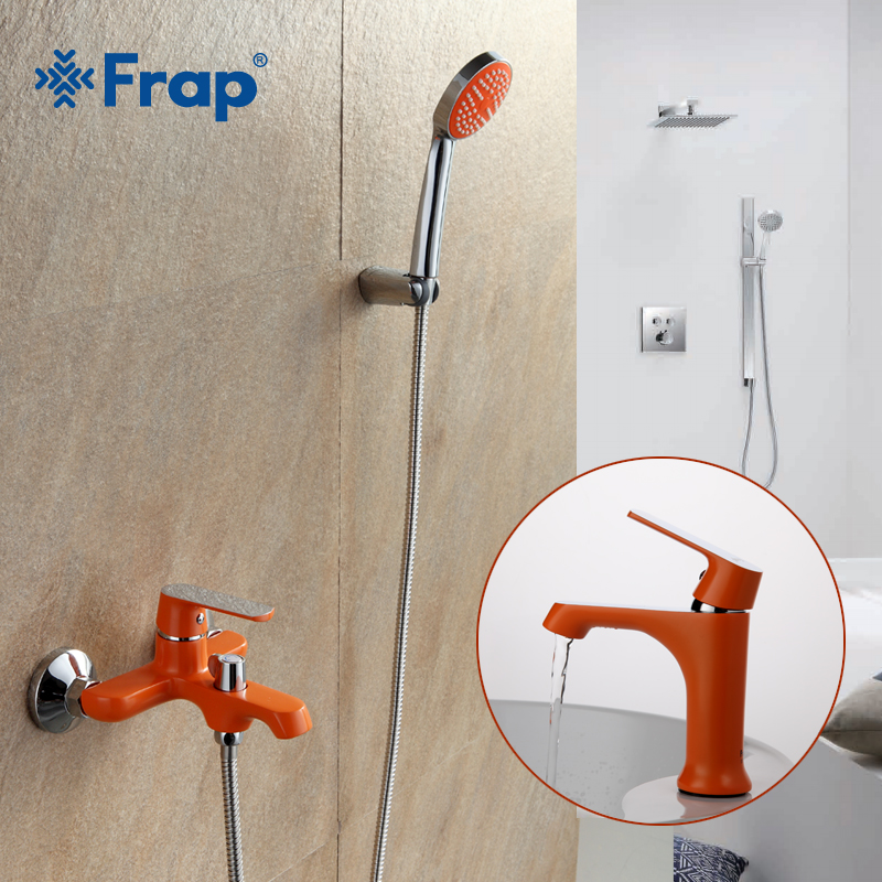 FRAP Colorful Combination Shower Faucet with Basin Faucet Cold and Hot Water Mixer with Shower Bar and Basin Faucet F1031+F3231 frap new bathroom combination basin faucet shower tap single handle cold and hot water mixer with slide bar torneira f2823