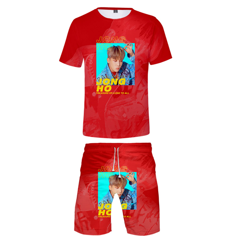 ATEEZ 2019 New Two Piece Set Casual Short Sleeve T-shirt+ Shorts Kpops High Street Fashion Round Neck Tshirt Shorts Set
