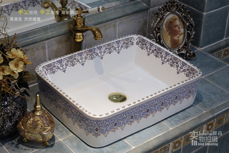 Porcelain Bathroom ceramic counter top sink Rectangular wash basin popular  in europe art basin lavabo sinks. Popular Rectangular Countertop Sink Buy Cheap Rectangular