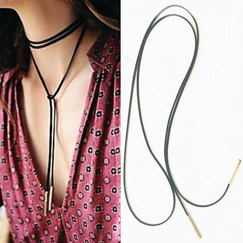 Kadın siyah ilmek kahverengi deri uzun kadife yaka gerdanlık kolye kolye halat moda takı collier aksesuarları x18